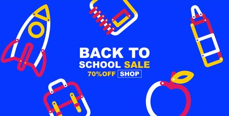 back to school sale banner, colorful color, flat design layout colorful, vector illustration.
