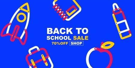 back to school sale banner, colorful color, flat design layout colorful, vector illustration.