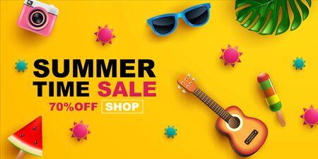 Summer Sale, Banner Layout Design, poster, template design, vector Illustration. Stockfoto - 145468548