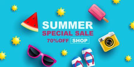 Summer Sale, Banner Layout Design, poster, template design, vector Illustration.