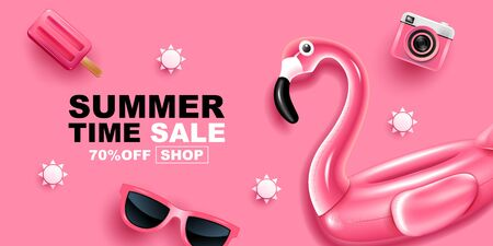 Summer Sale, pink color theme, Banner Layout Design, vector Illustration. 스톡 콘텐츠 - 145952699