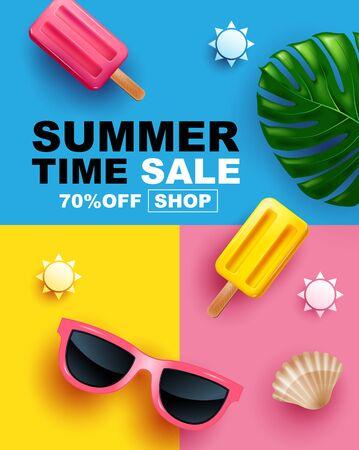 Summer Sale, Banner Layout Design, colorful poster, template design, vector Illustration.