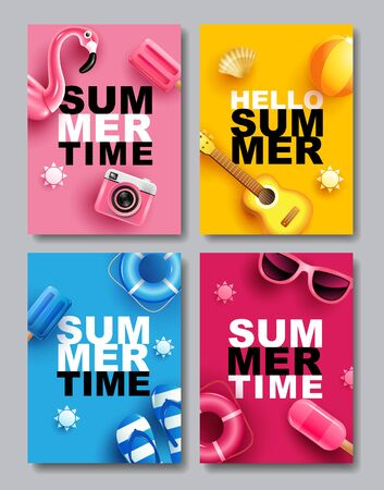 Summer Sale, Banner Layout Design, colorful theme, template design, vector Illustration. 스톡 콘텐츠 - 146413004