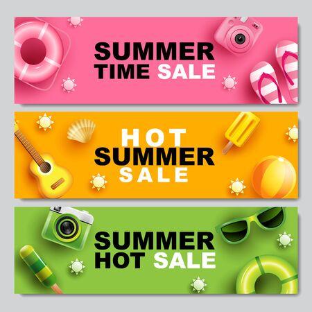 Summer Sale, Banner Layout Design, colorful theme ,monotone, template design, vector Illustration.