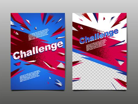 Challenge Layout , template Design, Abstract Background, Sport Dynamic Poster, Brush Speed Banner, grunge ,Vector Illustration.