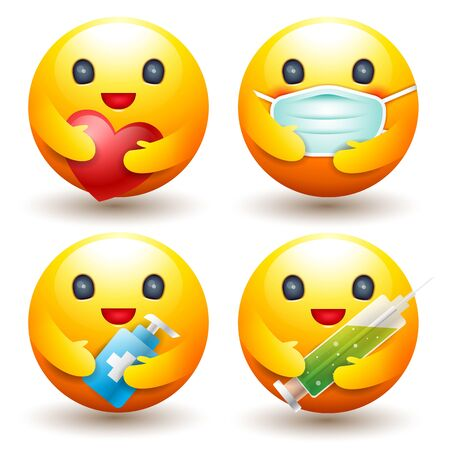 Smiley set icon, Protect disease concept, caring Emotion , mask,  sign and symbol vector. 일러스트