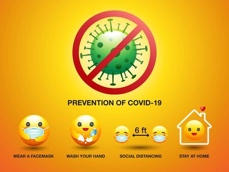 Set of icon smiley, Prevention of Covid-19, Sign and Symbol , Vector