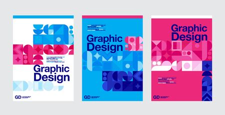 Graphic Design, Geometry Shape, Blue and magenta Color, Layout Template.