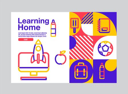 Learning Home, Education Banner Template, Stroke Graphic, Vector  Illustration.