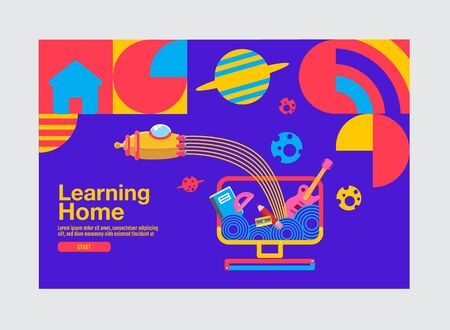 Learning Home, Education Banner Template, bact to school, Vector Flat Design. 일러스트