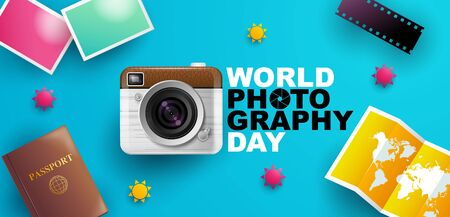 World photography day , event , vector, banner, logo, Typography.