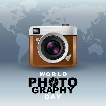 World photography day , event , vector, vintage camera, logo, Typography. 스톡 콘텐츠 - 148775911
