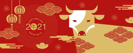 Chinese new year , 2021, Happy new year greetings, Year of the OX, modern design, colorful, cow,