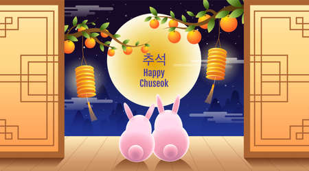 Happy Chuseok, Mid autumn festival. rabbits , Moon Festival ,vector illustration.