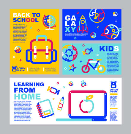 Back to School, online Learning , layout template, banner design. 向量圖像