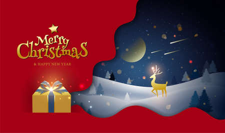 Merry Christmas & Happy New Year, Greeting, Winter, Fantasy Illustration, Vector