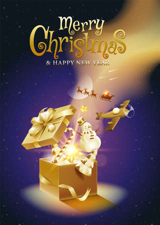 Merry Christmas, happy new year, calligraphy, Golden fantasy , vector illustration. 向量圖像