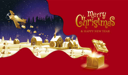 Merry Christmas, happy new year, calligraphy, Golden fantasy , vector illustration. 스톡 콘텐츠 - 157328680