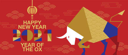 Happy new year, Chinese New Year, 2021, Year of the Ox, happy new year,  Flat design (Translate : Ox ) Ilustrace
