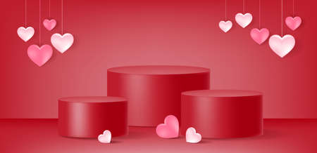 Valentine's day ,product display ,podium, heart shape, love, abstract  background