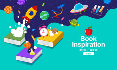 Book Inspiration, Back to school, Planet science, learning from home, vector illustration.