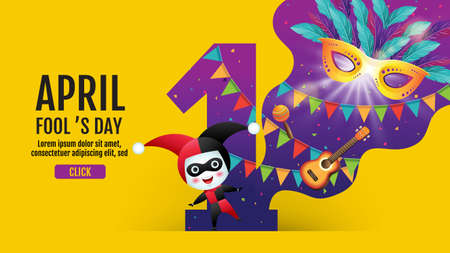 April fool's day, banner template, Colorful, vector illustration. Ilustracja