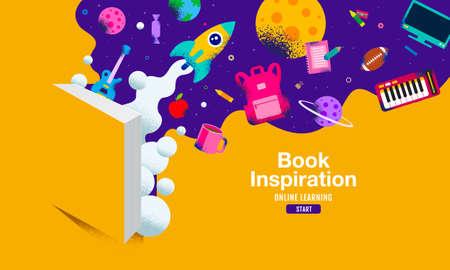 Book inspiration, Back to school, Online Learning, child, kids, social distancing, flat design, vector illustration.