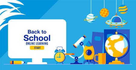 Back to school, Online Learning, child, kids, social distancing, flat design, vector illustration.