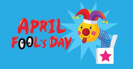 April fool's day, Typography, Colorful, flat design , joker ,vector illustration Ilustracja