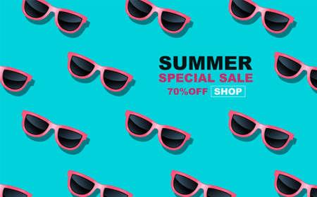 summer time , layout design, Glasses pattern, pop art design, banner template design, vector illustration