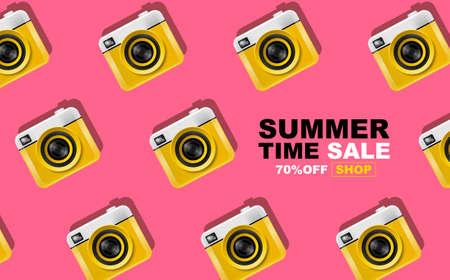 summer time , layout design,pattern, pop art, banner,  template design, vector illustration Ilustracja