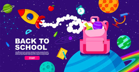 back to school, Online Learning, study from home, flat design vector.