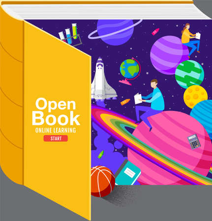 Open Book ,Inspiration, Online Learning, study from home, back to school, flat design vector.