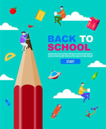 Back to school, read the book, big pencil, child, kids, social distancing, flat design, vector illustration. Ilustracja