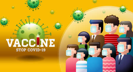 Vaccine, Stop Covid-19, mask, social distancing, group immunity, vector illustration. Ilustracja