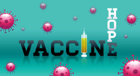 Vaccine, hope, typography, Stop Covid-19, mask, social distancing, group immunity, vector illustration.