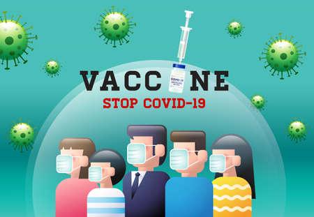 Vaccine, Stop Covid-19, coronavirus ,face mask, social distancing, group immunity, vector illustration.