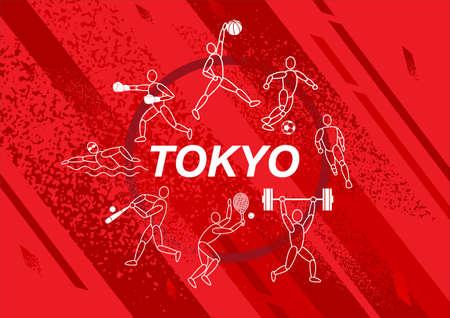 Japan flag concept, Sports equipment background, world game.