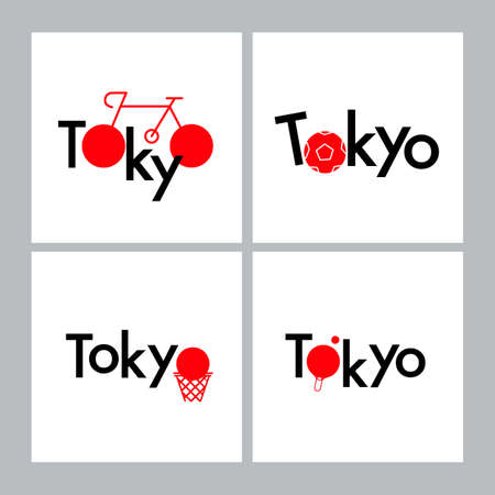 Tokyo Typography design sport concept. Sports equipment symbol. color Japan flag. Ilustracja
