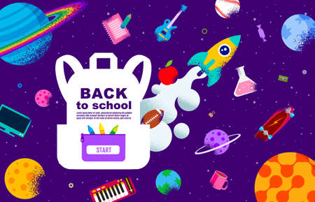 back to school, Book Inspiration, Online Learning, flat design vector. Ilustracja
