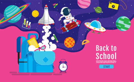 back to school, Book Inspiration, Online Learning, study from home, flat design vector