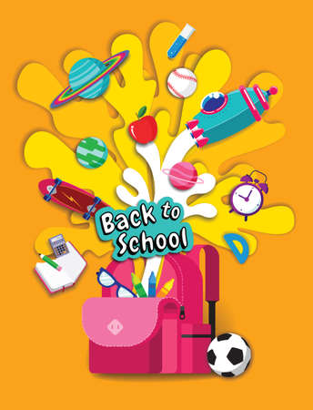 back to school, Book Inspiration, Online Learning, study from home, flat design vector.