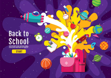 back to school,  Inspiration, Online Learning, study from home, flat design vector.