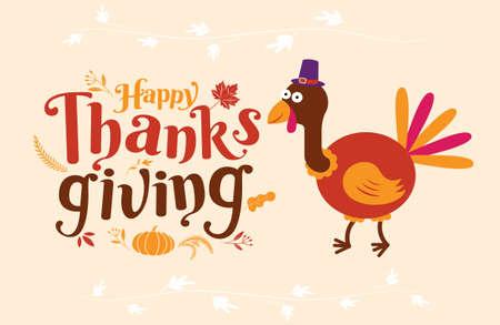 Happy Thanksgiving, Autumn, Typography, Calligraphy design, vector illustration.