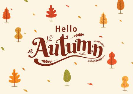 Hello Autumn, Thanksgiving day, fall, Typography, Calligraphy design, vector illustration Ilustracja