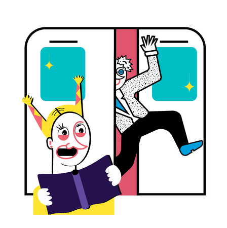 Good manners. Closing doors and running man in subway. Frightened girl with a book Illustration