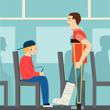 Good manners. The boy on the bus gives way to disabled.etiquette.man on crutches.broken leg