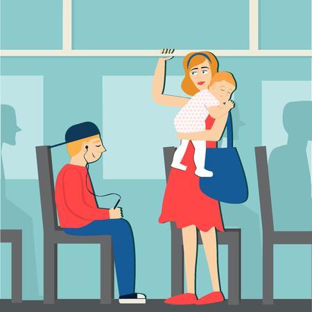 Bonnes manières. Le garçon sur le bus cède la place à une femme avec une étiquette de bébé. Vecteurs