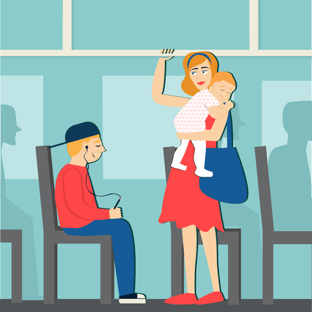 Good manners. The boy on the bus gives way to a woman with a baby.etiquette.