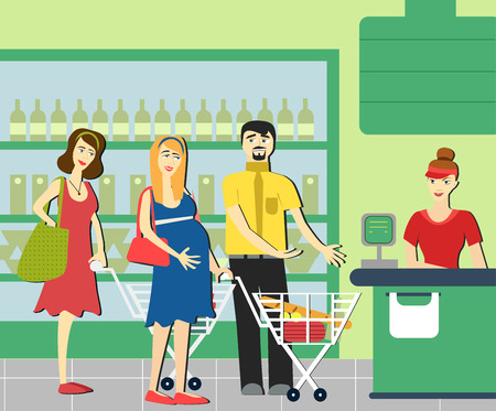 mujer en el supermercado: Good manners. Man gives way to a pregnant woman in the supermarket. Vectores